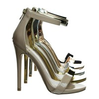 Kismet Beige Patent By Delicacy, High Heel Open Toe Stilettos, Women's Fashion Ankle Strap Sandal