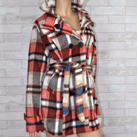 Misty Morning Plaid Wool Blend Peacoat- Rust