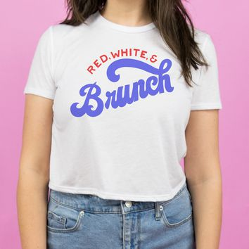 Red, White and Brunch Flowy Crop Tee