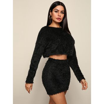 SHEINSolid Crop Fluffy Sweater and Bodycon Skirt Set