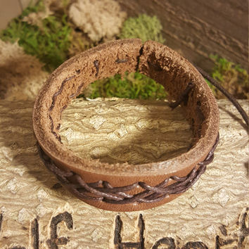 Handmade Brown Leather Bracelet Brown Weave Native American Fashion
