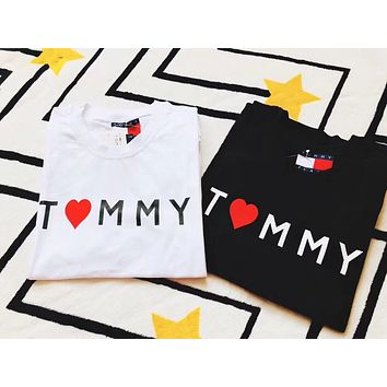 """"""" Tommy Hilfiger """" Women Embroidery Print Simple T-shirt"""