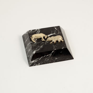 """Stock Market"" Paperweight in Black ""Zebra"" marble"