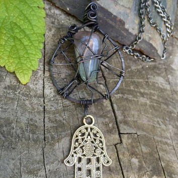 Wire wrapped Rainbow Fluorite Hamsa healing gunmetal chain necklace