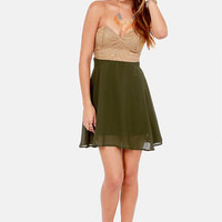 Ta-ra-ra Bustier! Brown and Olive Green Dress