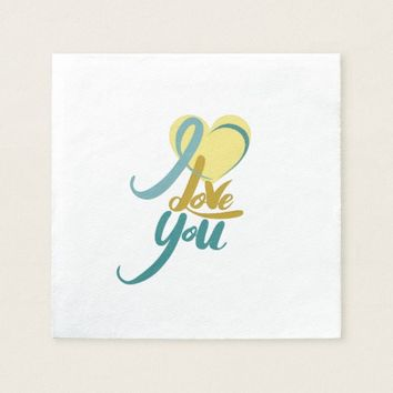 Golden Green Valentine's Day Paper Napkins