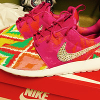 Custom Nike Roshe Run, Custom Nike Tennis Shoes, Custom Roshe Run, Ikat Design, Rhinestone Swoosh