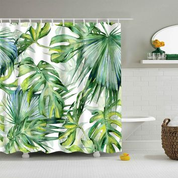 Natural Leaf Polyester Shower Curtains Washable High Quality Colorful curtains for bathroom shower