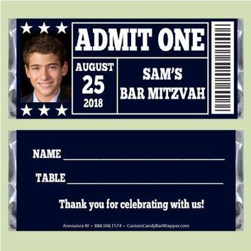 Ticket Bar Mitzvah Candy Bar Wrappers