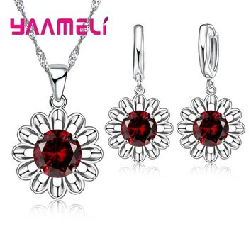 YAAMELI Factory Price Fashion Jewelry Sets For Women 925 Sterling Silver Red Wine Color Sunflower CZ Necklace Pendant Earrings