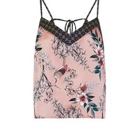 Selina Mid Pink Floral Satin Pyjama Cami Top | New Look