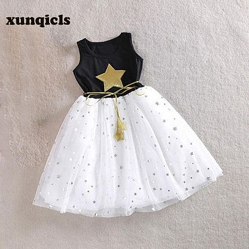 3-10Y Baby Girls Sequins Dress Star Printed with Belt Sleeveless Princess Party Kids Dresses
