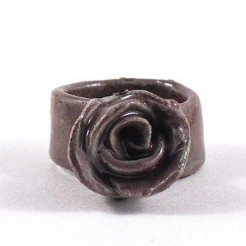 Ceramic Rose Ring Stoneware Handmade Chunky Statement Jewelry Dusty Pink in Gift Pouch