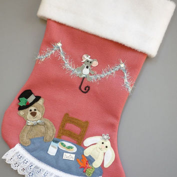 "Girl's Handmade Christmas Stocking ""Tea Party for Santa"""