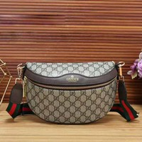 GUCCI New Fashion More Letter Leather Women Men Stripe Waist Bag Shoulder Bag Coffee