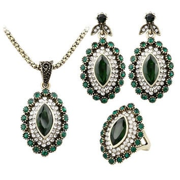 Indian Vintage Look Antique Gold Finish AAA+ Austrian Crystals Jewelry Set Pendant Necklace Earrings Ring