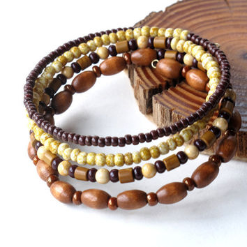 Beaded bracelet stack - 4 stacking wood, stone and glass bead bangles