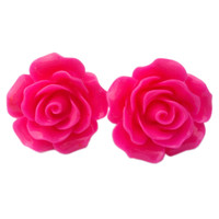 "Women's ""Large Rose"" Earrings by Juicy Lucy (Hot Pink)"