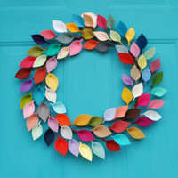 "Rainbow Felt Leaf Wreath - Magazine Featured - Everyday Wreath - 16"" Outside Diameter - Made to Order"