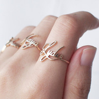 20% OFF Custom Name Ring - Personalized Name Ring - Your Name Jewelry - Bridesmaid Jewelry Gold, Rose Gold, Silver - PR04F61