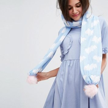 Lazy Oaf Knitted Cloud Print Scarf at asos.com
