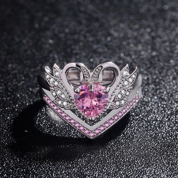 2018 New Fashion Luxury Swan Engagement Rings Set for Women Heart Red Zircon Wedding Ring Plated Black US Size 6-10 bague femme
