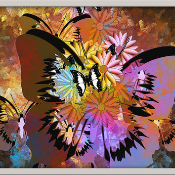 Abstract Art Butterflies Framed