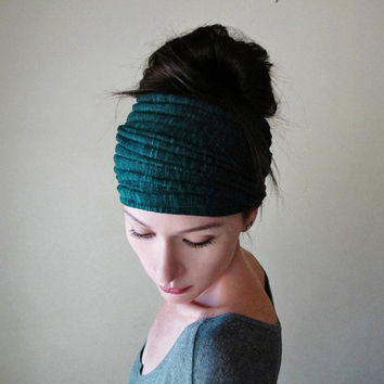 DARK TEAL Ear Warmer - Yoga Hair Wrap - Blue Green Ribbed Sweater Knit Head Scarf