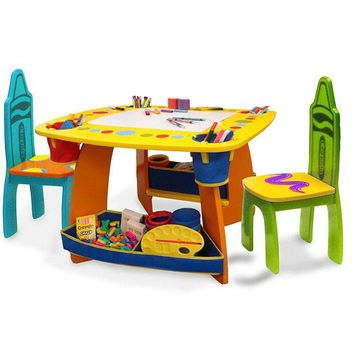 Crayola Wooden Desk and Chairs Set