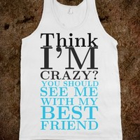 Think I'm Crazy tank top tee t shirt-Unisex Heather Grey T-Shirt