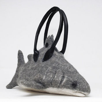 "Felted Shark bag with leather handles - ""SHARKPATRIK"""