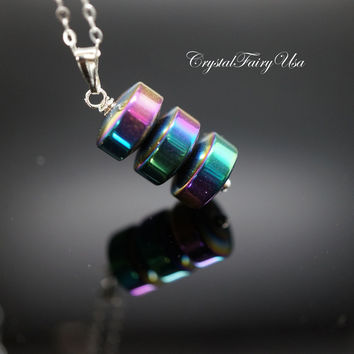 Hematite Necklace in Sterling Silver Genuine Hematite Rainbow Stone Pendant
