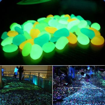 100 pcs Glow In The Dark Luminous Pebbles Stones For Wedding Romantic Evening Festive Events Garden Decorations Crafts-L1