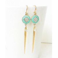 Gold Turquoise Spike Crystal Earrings, Turquoise Crystal Earrings, Turquoise Earrings, Turquoise Spike Earrings, Gold Spike Earrings