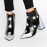 Daisy Street Star Print Heeled Ankle Boots at asos.com