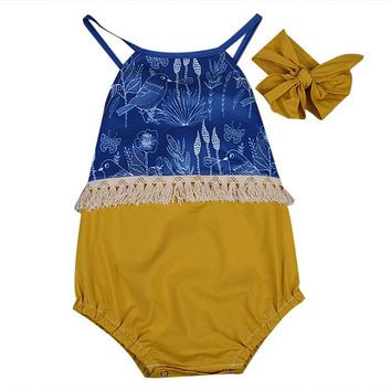 NEWBORN BABY GIRL TASSEL BACKLESS PATCHWORK JUMPSUIT