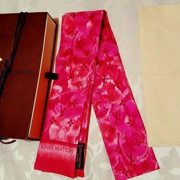 Authentic Louis Vuitton Ikat in Rose Indien Silk Bandeau for Bag or Scarf