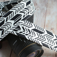 dSLR Camera Strap - Black and White Sunprint Feathers - Grey Camera Strap dSLR