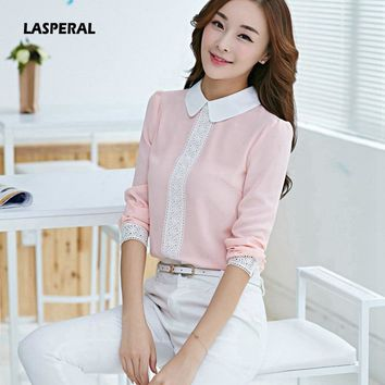 LASPERAL Hot Sale Women Long Sleeve Chiffon Blousas Peter Pan Collar Shirt Lace Floral Print Patchwork Tops White Pink Cute Tees