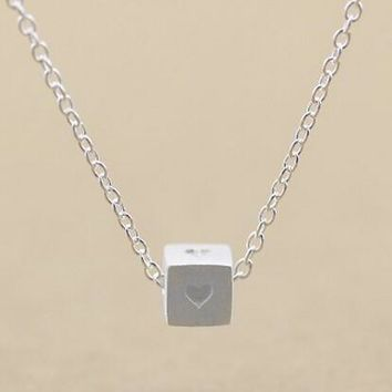 womens cube love silver necklace gift box jewelry 82  number 1