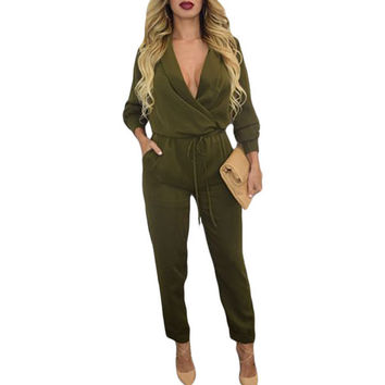 FGirl Body Jumpsuits Woman Army Green Sleeve Jumper Bodycon Jumpsuit Women Rompers FG10782