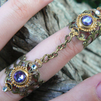 Swarovski armor ring double chained  ring  nail ring  claw ring nail tip ring knuckle ring  vampire goth victorian goddess pagan boho gypsy