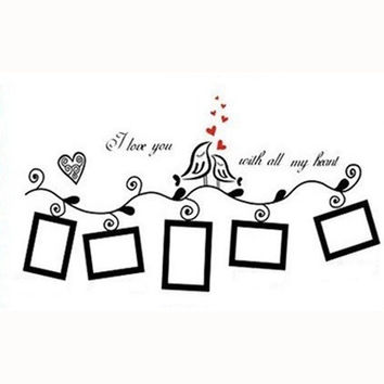 Photo Frame Loving Bird Love You Heart Wall Stickers Living Room DIY Home Decor = 1706182276