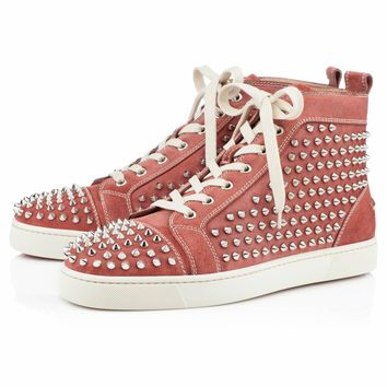 LOUIS FLAT SPIKES , Leather, RED/SILVER, Men Shoes.