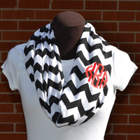 Monogrammed Chevron Infinity Scarf Knit Jersey