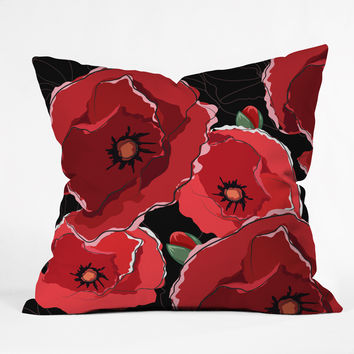 Belle13 Red Poppies On Black Outdoor Throw Pillow