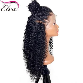 "Elva Hair Pre Plucked Full Lace Human Hair Wigs With Baby Hair Brazilian Gluless Full Lace Wig Bleached Knots Curly Wig 10""-24"""