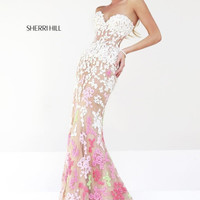 Sherri Hill 11134 - Ombre Multicolor Lace Strapless Gown / Dress with Floral Details