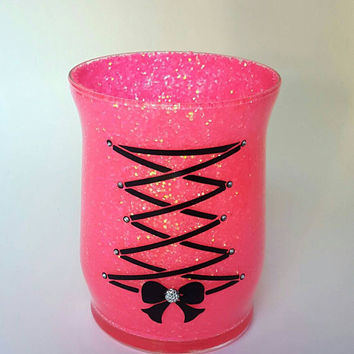 Hot Pink chunky glitter makeup holder. Black corset. Bow Rhinestones. Vanity desk decor. Brush holder. Cup