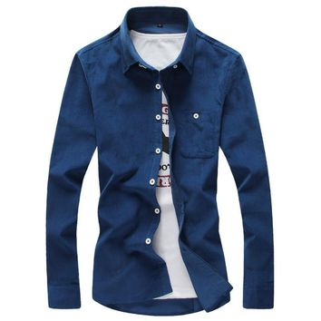 Men's Corduroy Casual Slim Fit Brand Long Sleeve Shirts Pure Color Cotton Shirt
